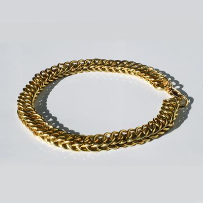 Goudsmid Edelsmid Ylva Roël. Design sieraden, ontwerp laten maken Haarlem. goud 14kt, slangenketting 7x4mm Gouden armband. A155
