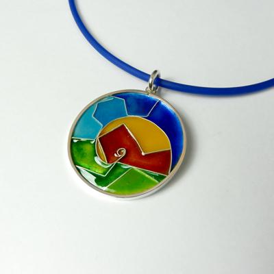 Goudsmid Edelsmid Ylva Roël. Design sieraden, ontwerp laten maken Haarlem. zilver, emaille Zilveren collier. H183