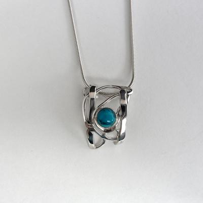 Goudsmid Edelsmid Ylva Roël. Design sieraden, ontwerp laten maken Haarlem. zilver, turkoois Zilveren collier. H185