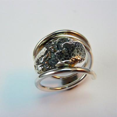 Goudsmid Edelsmid Ylva Roël. Design sieraden, ontwerp laten maken Haarlem. 'schildpad'. zilver Zilveren ring. R034