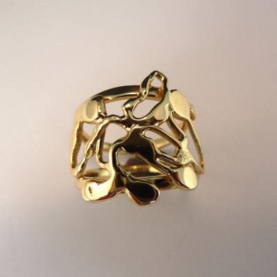 Goudsmid Edelsmid Ylva Roël. Design sieraden, ontwerp laten maken Haarlem. 'organist'. goud 14kt Gouden ring. R132