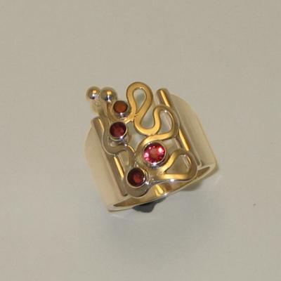 Goudsmid Edelsmid Ylva Roël. Design sieraden, ontwerp laten maken Haarlem. 'familie'. zilver met granaat Zilveren ring. R142