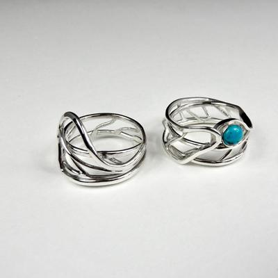 Goudsmid Edelsmid Ylva Roël. Design sieraden, ontwerp laten maken Haarlem. zilver, turkoois Zilveren ring. R181