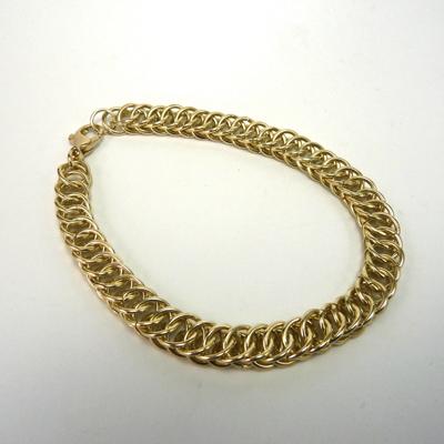 Goudsmid Edelsmid Ylva Roël. Design sieraden, ontwerp laten maken Haarlem. armband, goud 14kt, 'slangenketting' 7x4mm Gouden viking sieraden. A155